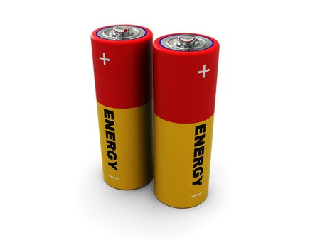 digitally generated: 3d illustration of two batterys over white background