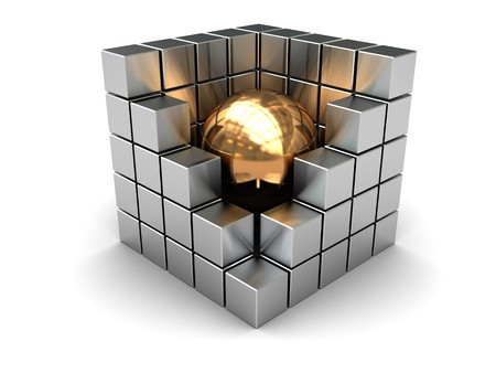 abstract 3d illustration of steel cube with golden ball inside illustration