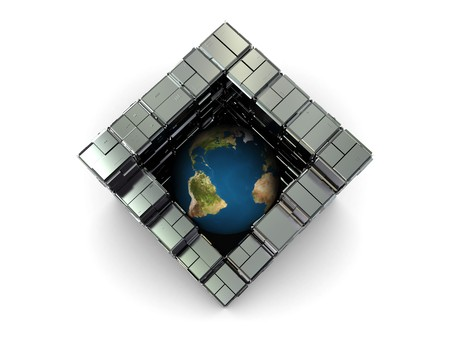 abstract 3d illustration of earth globe in steel industrial cube Stock Illustration - 4459222