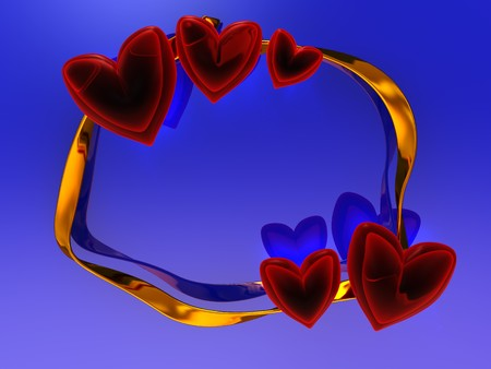 abstract 3d illustration of red hearts and golden ribbon over blue background illustration