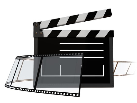 cinematographer: abstract 3d illustration of cinema symbol over white background