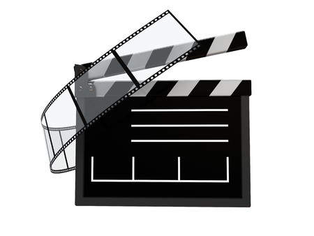 syncing: abstract 3d illustration of cinema symbol, icon, over white