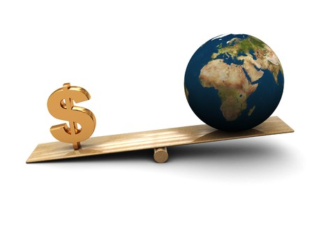 abstract 3d illustration of earth and dollar sign on scale illustration
