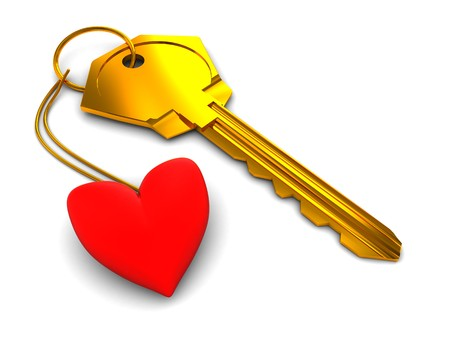 keyholder: abstract 3d illustration of golden key and red heart over white background Stock Photo