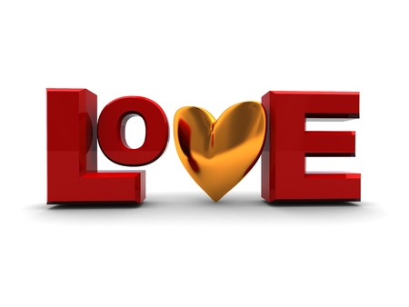 abstract 3d illustration of text love with golden heart illustration
