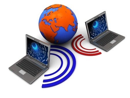 abstract 3d illustration of two laptops wireless connected and globe Stock Illustration - 4459240