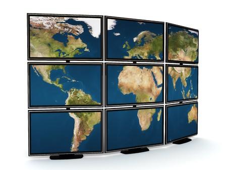 3d illustration of presentation tv wall over white background Stock Illustration - 4459238