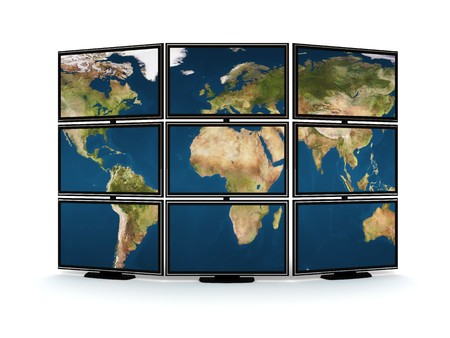 silver screen: abstract 3d illustration of tv wall with world map on it