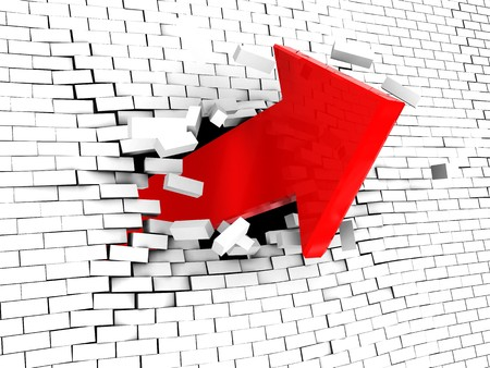 sucess: abstract 3d illustration of arrow breaking white brick wall Stock Photo