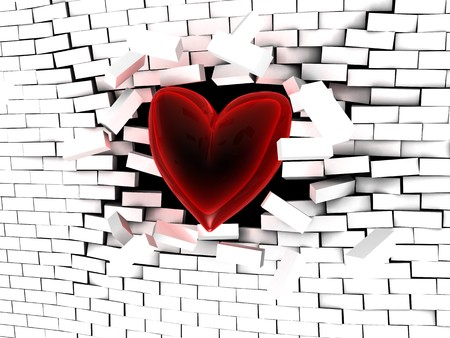 abstract 3d illustration of red heart breaking the wall illustration