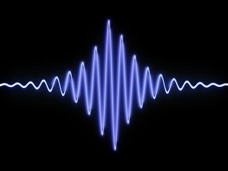 3D-Darstellung der Schallwelle auf schwarzem Hintergrund