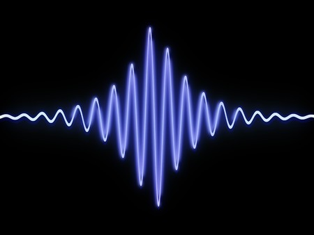 high volume: 3d illustration of sound wave over black background Stock Photo