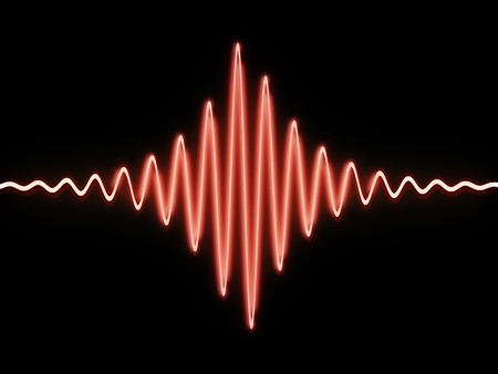 geluid: 3d illstration van geluidsgolf over zwarte achtergrond