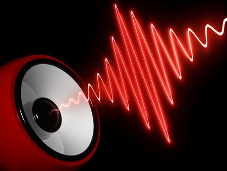 geluid: abstracte 3d illustratie van moderne spreker en sound wave