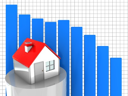 house prices: 3d illustration of house prices diagram fall down