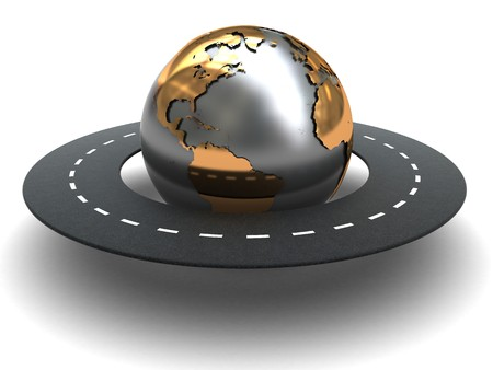 golden globe: abstract 3d illustration of road around world, white background