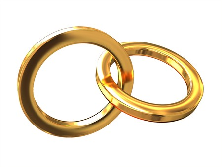 interlocked: 3d illustration of two golden rings isolated over white background Stock Photo