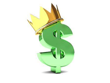 abstract 3d illustration of dollar sign in golden crown illustration