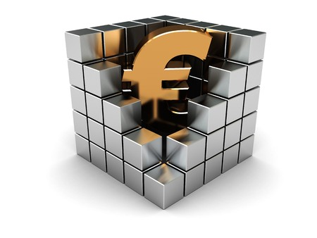 abstract 3d illustration of euro sign in steel cube illustration