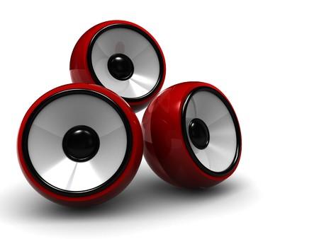 sono: 3d illustration r�sum� de syst�me de son, de trois haut-parleurs modernes