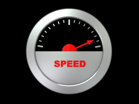 3d illustration of speed meter over black background illustration