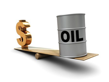 oil barrel: abstract 3d illustration of dollar sign and  oil barrel on scale, oil prices concept