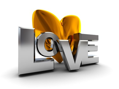 abstract 3d illustration of love symbol, golden heart, silver text illustration