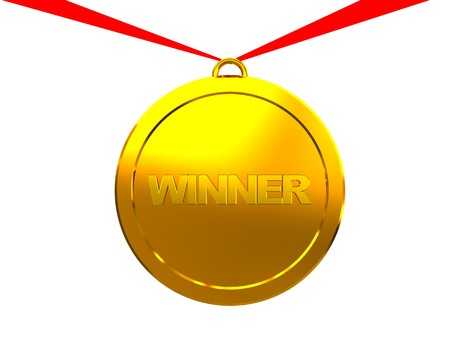 3d illustration of winner medal with red ribbon, over white background Stock Illustration - 4487675