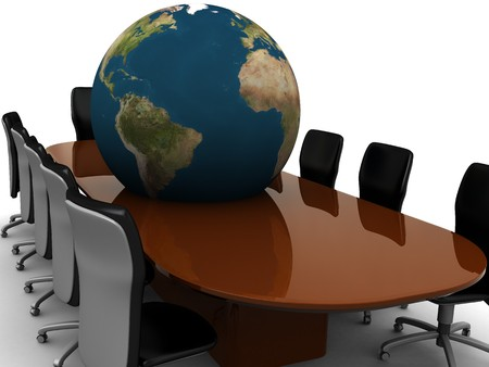 abstract 3d illustration of meeting room and earth globe illustration