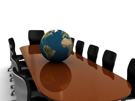 3d illustration of business meeting table and earth globe Stock Illustration - 4487704