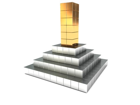 metall: abstract 3d illustration of metal building over white background