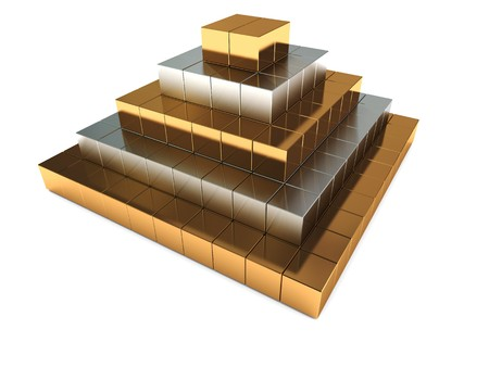 3d illustration of abstract golden pyramid building over white illustration