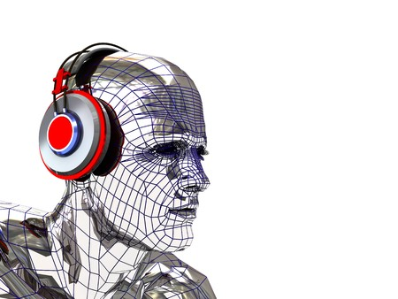 chrome man: abstract 3d illustration of computer generated head with headphones Stock Photo