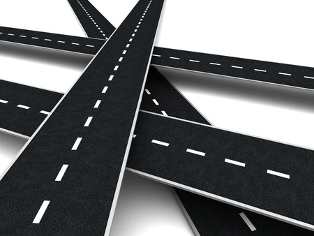 multiple choice: abstract 3d illustration of roads cross