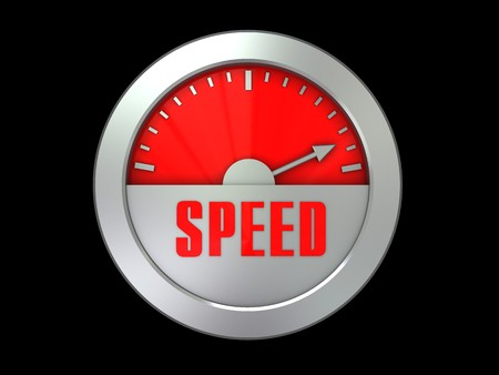 abstract 3d illustration of speed meter over black background illustration