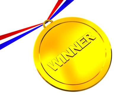 3d illustration of golden medal over white background Stock Illustration - 4554322