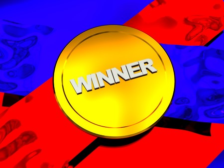 incentive: abstract 3d illustration of golden medal over ribbons Stock Photo