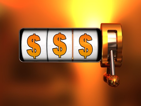 abstract 3d illustration of jackpot with dollar signs, front view