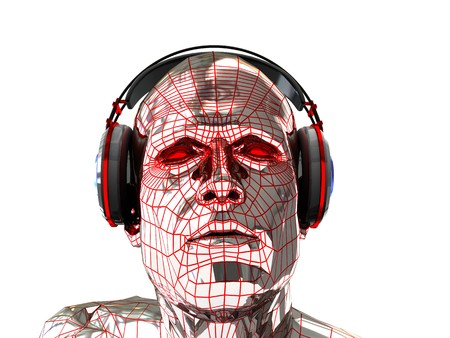 digitally generated: abstract 3d illustration of steel head in headphones over white background