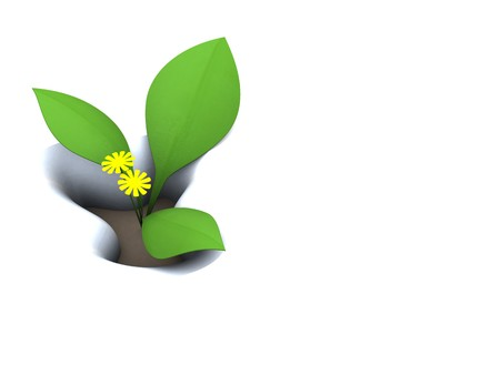 abstract 3d illustration, spring background with first flowers in snow illustration