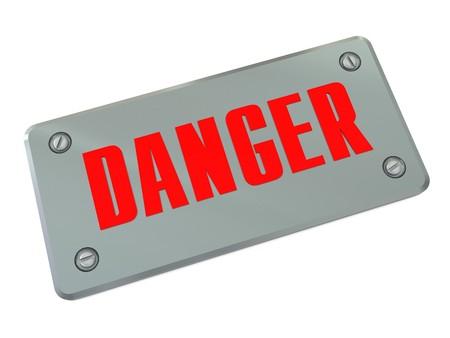 3d illustration of steel plate with danger sign on it Stock Illustration - 4554342