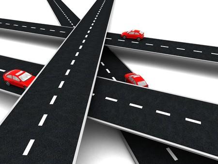 3D-Darstellung von Straßen Kreuzung mit Autos auf