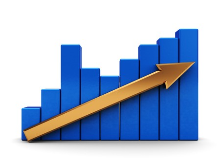 gold bar earn: abstract 3d illustration of graph with arrow over white background Stock Photo