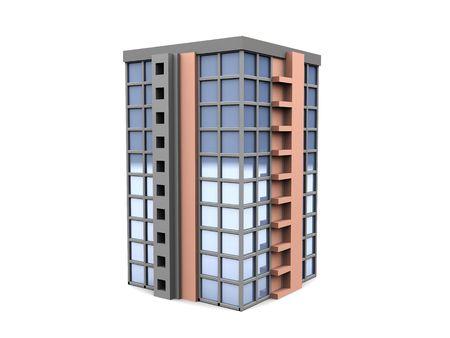 constructivism: 3d illustration of office building over white background