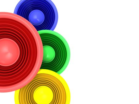 3d illustration of white background with colorful speakers on left side illustration