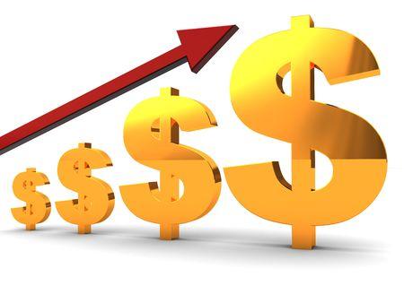 flujo de dinero: 3d illustration resumen de las cartas y el s�mbolo del d�lar flecha roja