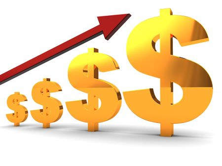 abstract 3d illustration of dollar symbol charts and red arrow