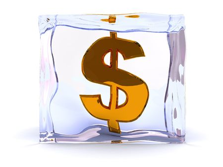 abstract 3d illustration of golden dollar sign in ice cube Stock Illustration - 4646911