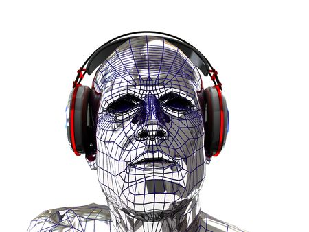 head phones: abstract 3d illustration of robot head in headphones