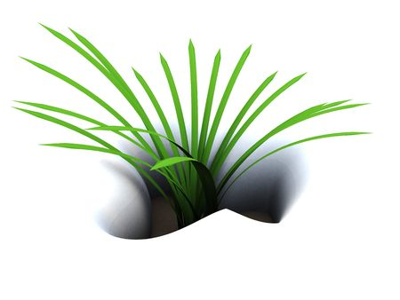 abstract 3d illustration of first green grass in snow Stock Illustration - 4646882